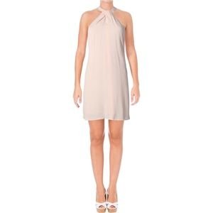 1.State Pink Crepe Halter Shift Casual Dress